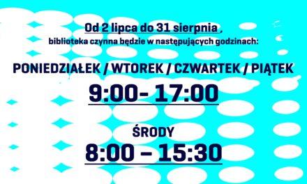 Wakacyjne godziny pracy Powiatowej i Miejskiej Biblioteka Publicznej w Pruszczu Gdańskim