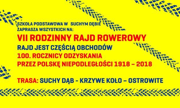Zaproszenie na VII Rodzinny Rajd Rowerowy z okazji 100-lecia Niepodległości